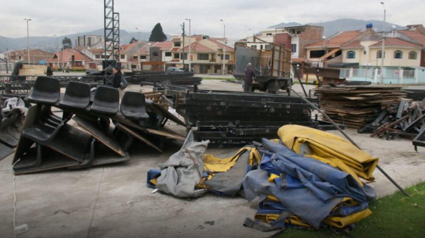 Circo Social de Cuenca, desmontado tras seis años de abandono. Marzo de 2019.