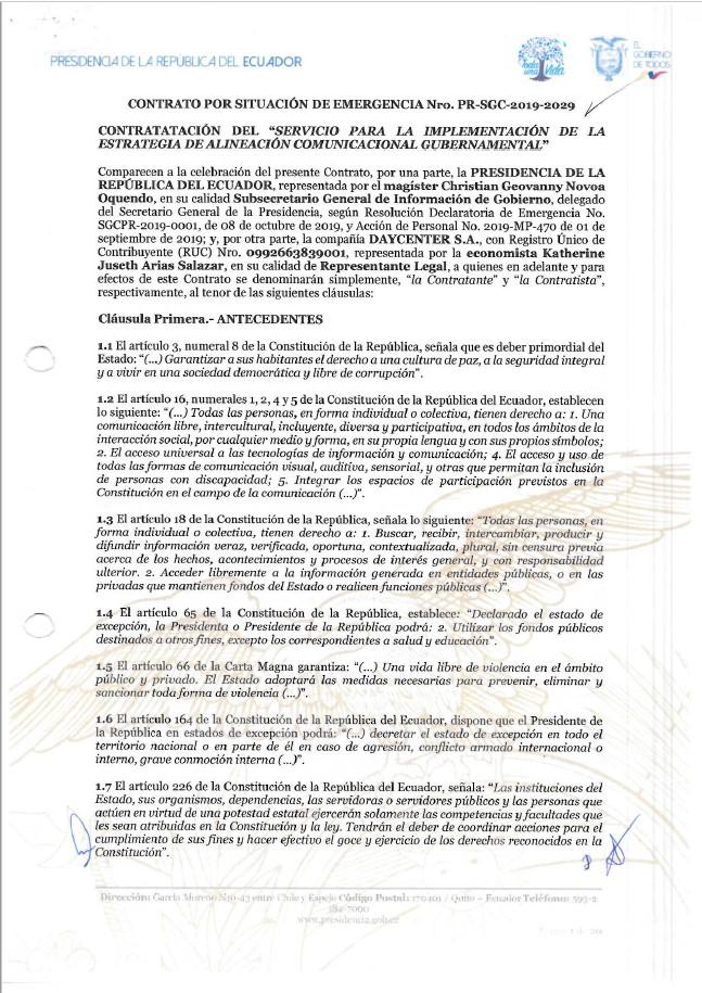 Contrato del Servicio para la Implementación de la Estrategia de Alineación Comunicacional Gubernamental