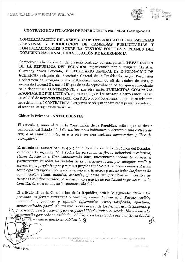 Contrato del Servicio de Desarrollo de Estrategias Creativas