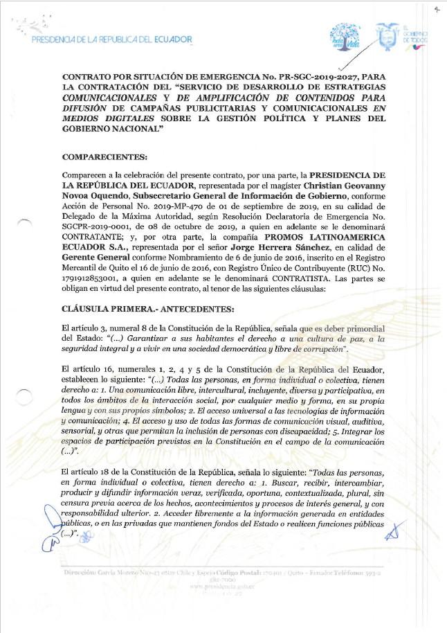Contrato del Servicio de Desarrollo de Estrategias Comunicacionales