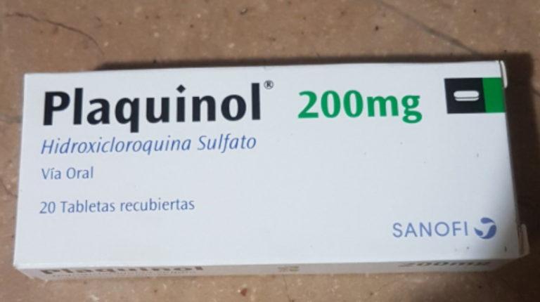 Caja de tabletas de Plaquinol.