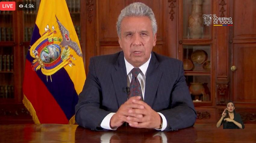 El presidente Lenín Moreno ordenó el estado de excepción en el país por la emergencia sanitaria la noche del 16 de marzo de 2020.