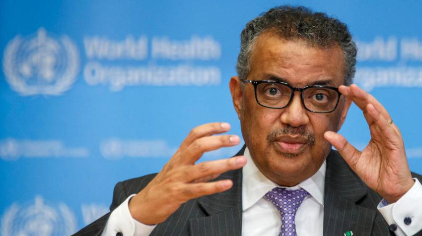 El director general de la Organización Mundial de la Salud (OMS), Tedros Adhanom Ghebreyesus, habla durante una rueda de prensa el 9 de marzo de 2020, en Ginebra.