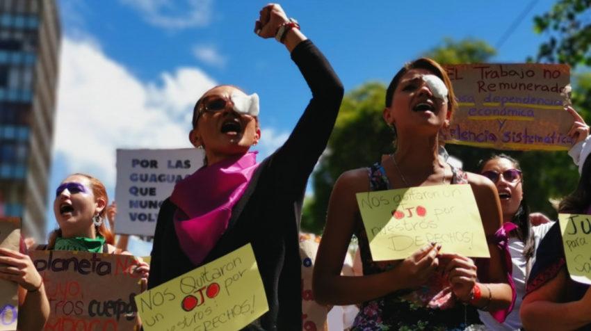 Manifestación en Quito por el Día Internacional de la Mujer, este 8 de marzo de 2020.