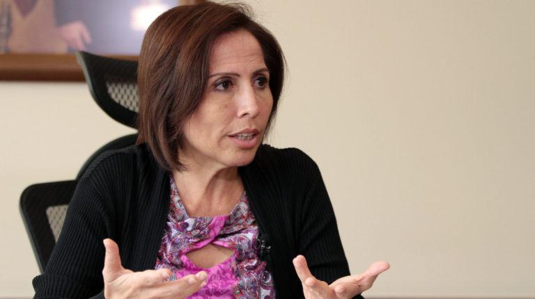 María de los Ángeles Durante atiende una entrevista, como ministra de Vivienda, en 2016.