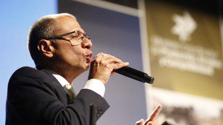 El exvicepresidente Jorge Glas durante la presentación de la Ley APP, en 2015.