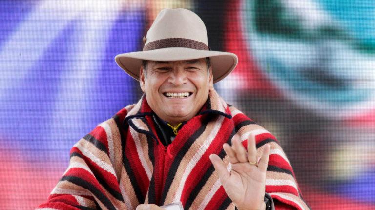 El expresidente Rafael Correa durante un enlace ciudadano en Zumbahua, en 2017.
