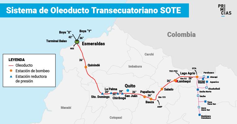 Mapa del recorrido del oleoducto SOTE de Petroecuador.