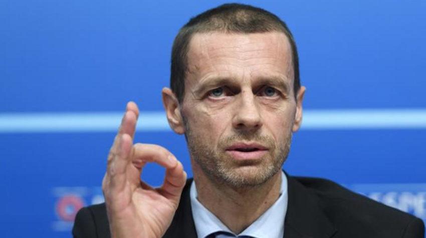 El presidente de UEFA, Aleksander Ceferin, durante una rueda de prensa en la sede de la entidad, en Suiza.