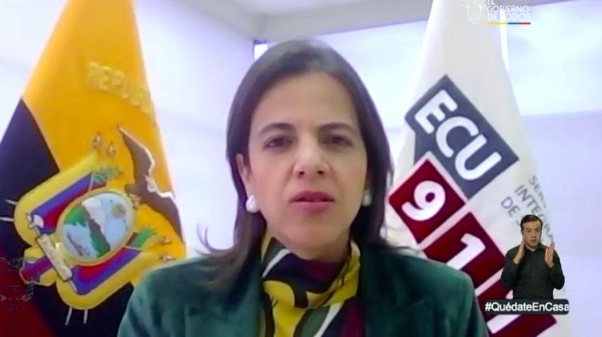 La ministra de Gobierno, María Paula Romo, en el informe del Comité de Operaciones de Emergencia del 25 de mayo de 2020.
