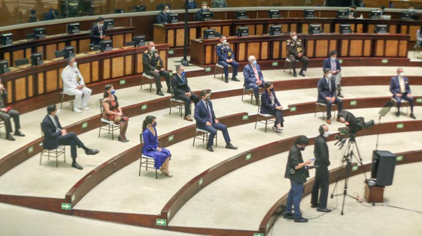 Así lució la Asamblea el 24 de mayo de 2020, durante el discurso del presidente Lenín Moreno.