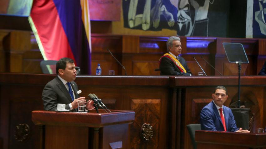 El presindente de la Asamblea, César Litardo, durante su discurso en el Informe a la Nación, el 24 de mayo de 2020.