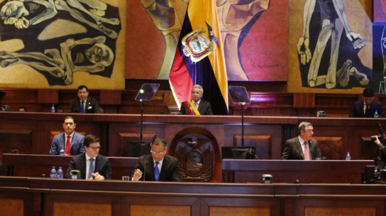 El presidente de la República, Lenín Moreno, en la Asamblea Nacional. 24 de mayo de 2020