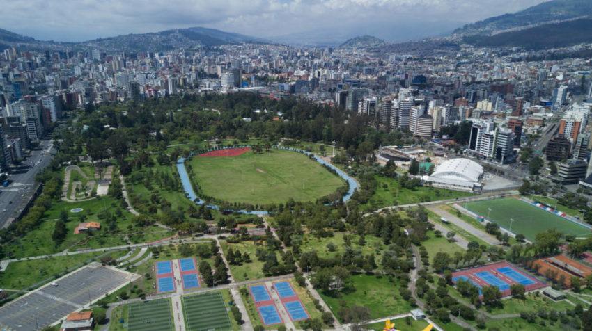 Vista aérea del parque La Carolina en Quito, el 15 de marzo de 2020.