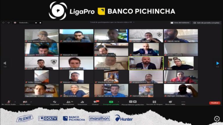 El Consejo de Presidentes de los clubes de la LigaPro se reunieron este 20 de mayo de 2020, a través de la plataforma Zoom.