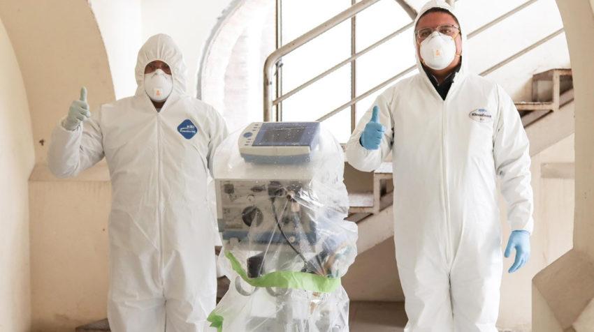 GM OBB del Ecuador, en coordinación con CINAE, entregaron el 12 de abril un respirador artificial reparado.