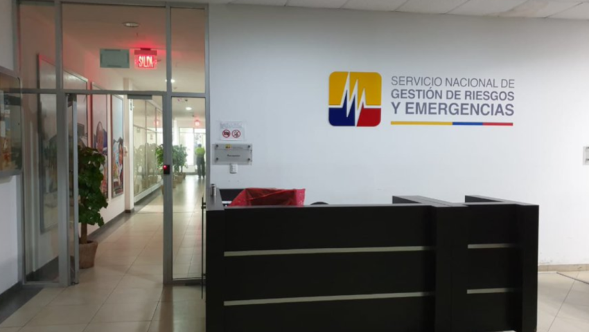 Las oficinas del Servicio Nacional de Gestión de Riesgos en Samborondón que fueron allanadas este 8 de mayo de 2020.
