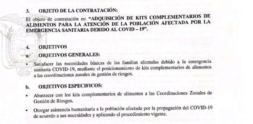 Términos de referencia del contrato de kits alimenticios de la Secretaría de Gestión de Riesgos.