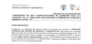 Contrato firmado por la Secretaría de Gestión de Riesgos.