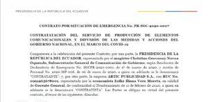 Imagen de la primera página del contrato firmado el 9 de abril de 2020 por la Secretaría de Comunicaciónpara la producción de elementos comunicacionales y difusión de las medidas y acciones del Gobierno Nacional.