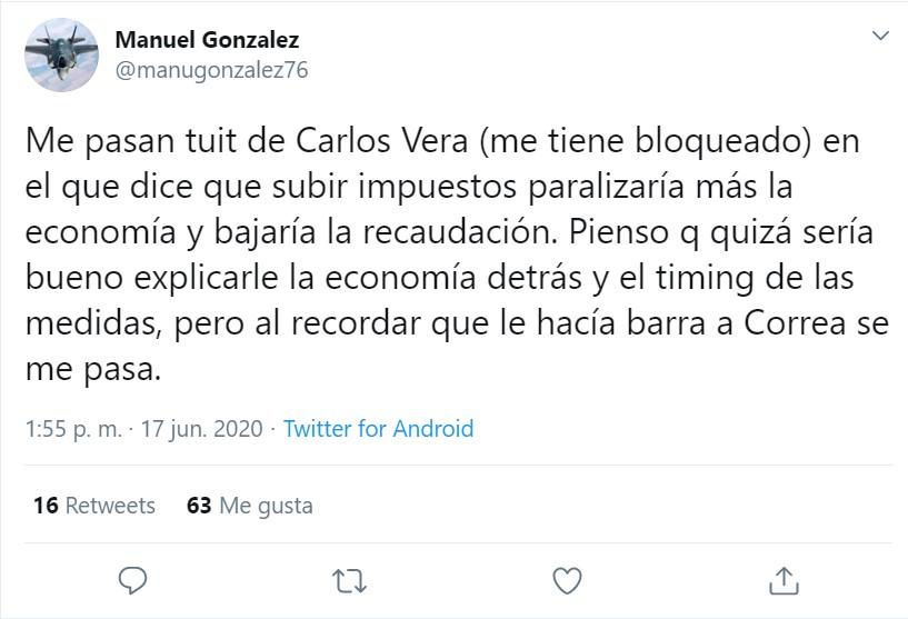 Luego de las críticas del periodista Carlos Vera, el economista Manuel González recordó que Vera le hacía barra a Rafael Correa.