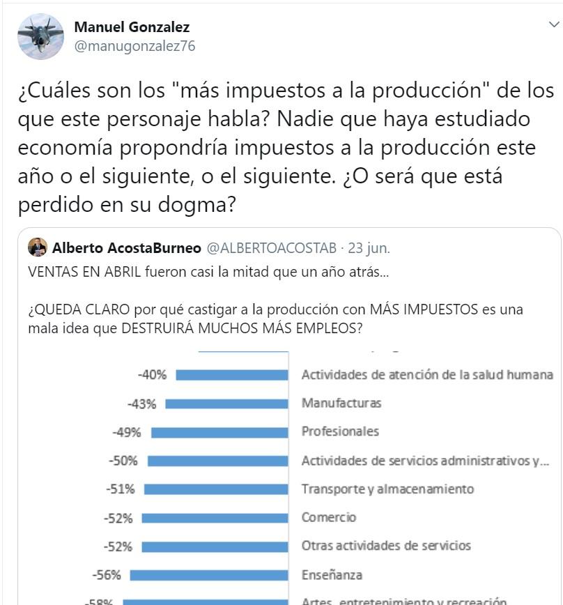 Captura de la respuesta de Manuel González a las críticas del economista Alberto Acosta Burneo.