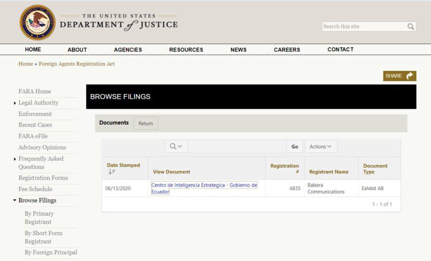 Sitio de registro de actividades de los agentes internacionales del Departamento de Justicia de Estados Unidos.