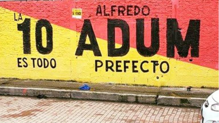 Un mural de la campaña de  Alfredo Adum para prefecto del Guayas en las elecciones seccionales de 2019.