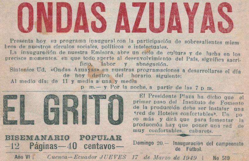 Anuncio de prensa del 17 de marzo de 1949 sobre la primera emisión de la radio Ondas Azuayas.