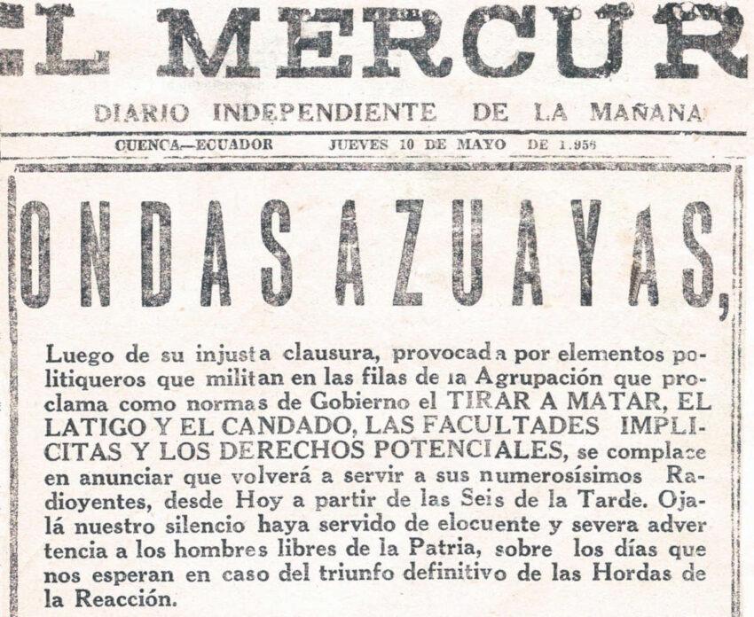 Publicación del 10 de mayo de 1956 en la que Ondas Azuayas anunciaba su retorno al aire tras una clausura del gobierno de Velasco Ibarra.