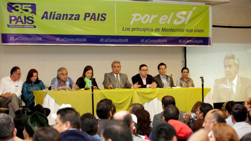 El presidente Lenín Moreno en el taller Coalición Nacional de Alianza PAIS, a propósito de la Consulta Popular, 17 de octubre de 2017.