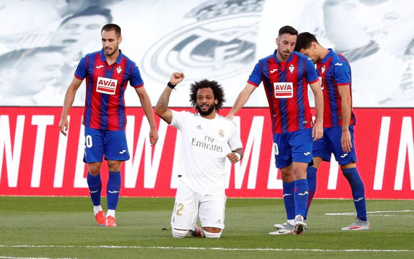 Marcelo festeja el gol ante el Eibar, el domingo 14 de junio de 2020.