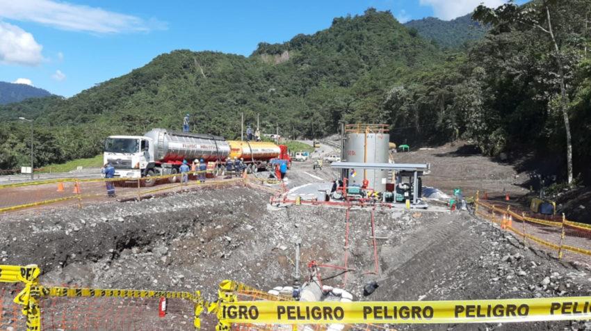 Imagen de los trabajos de la nueva variante de OCP, en el sector de la provincia de Napo, este 11 de junio de 2020.