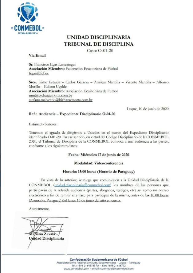 Documento emitido por Conmebol
