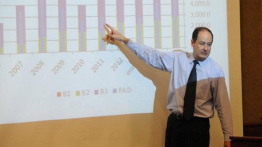 Vicente Albornoz durante una clase magistral en la UDLA, en 2014