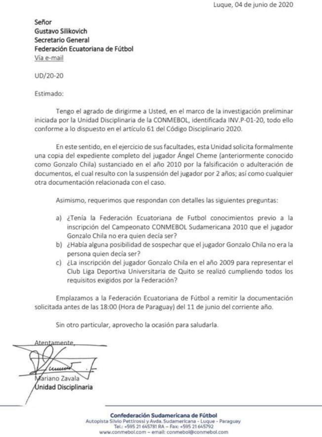 Documento emitido por Conmebol hacia FEF