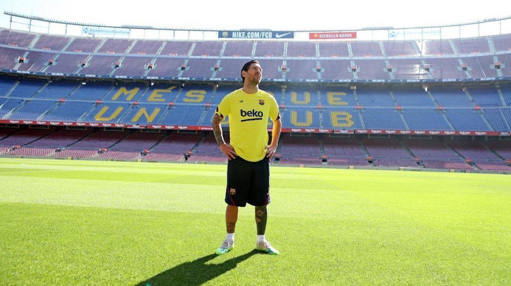 Con Messi a la cabeza, el FC Barcelona entrenó en el Camp Nou
