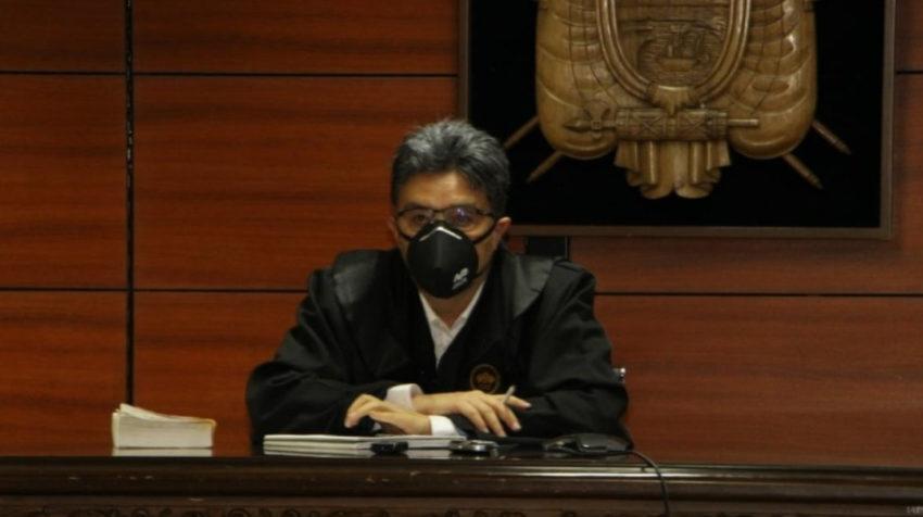 El juez Marco Rodríguez durante la reinstalación de la audiencia de formulación de cargos del caso Hospital de Pedernales, el 5 de junio de 2020.