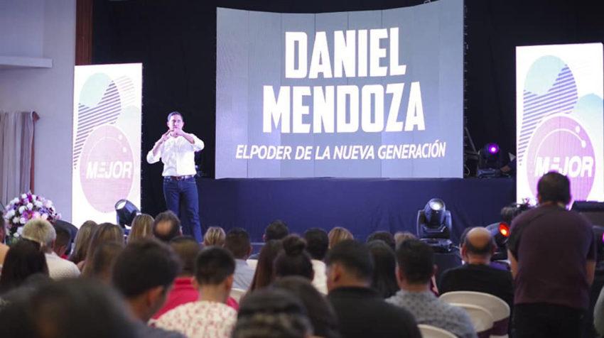 El asambleísta Daniel Mendoza, el 1 de febrero de 2020, durante un evento del movimiento Mejor.