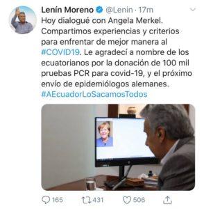 El 27 de mayo de 2020 el presidente Lenín Moreno difundió un tuit sobre un diálogo con Angela Merkel, después fue eliminado.