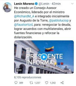 El presidente Moreno anunció en su cuenta de Twitter la conformación errada de un consejo económico. El trino fue eliminado.