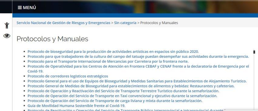 Captura de la página web del Servicio Nacional de Gestión de Riesgos y Emergencias, realizada el 3 de junio de 2020, a las 15.00.