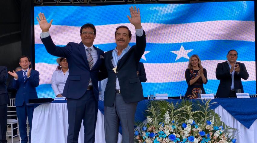 Jaime Nebot y Carlos Luis Morales durante las celebraciones por el día de la provincia del Guayas el pasado 8 de noviembre de 2019.