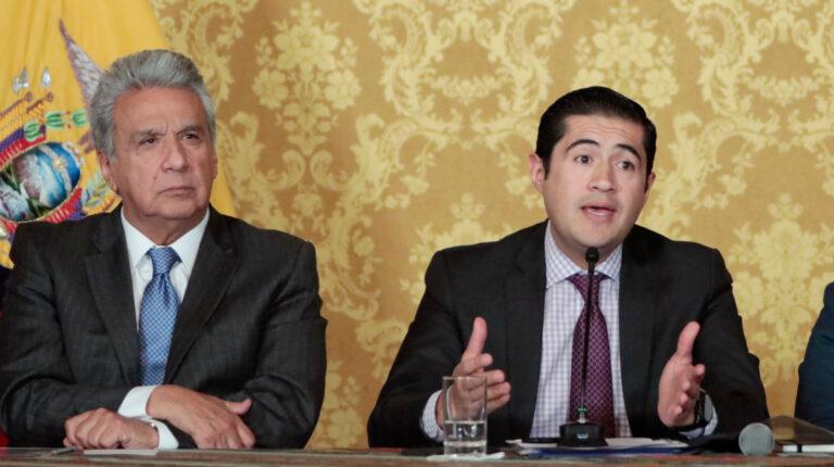 El 17 de febrero de 2020, el presidente de la República, Lenín Moreno y el ministro de Finanzas, Richard Martínez, durante el informe sobre los logros alcanzados tras la visita oficial a Estados Unidos