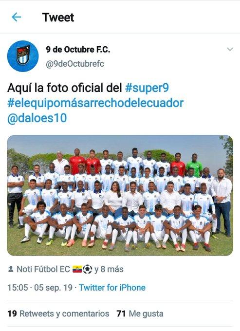 Captura del tuit del club 9 de Octubre.