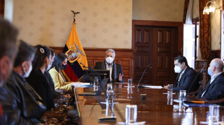 El presidente Lenín Moreno mantuvo una reunión con alcaldes del país, este 29 de julio de 2020.