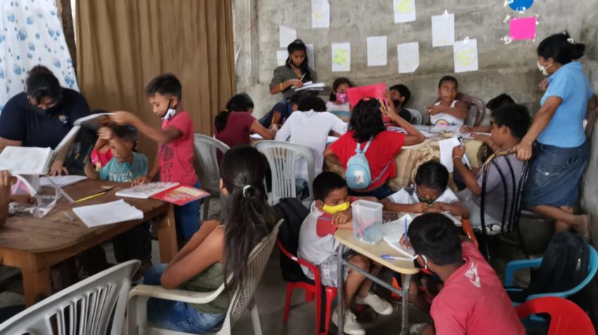 La sala que se convirtió en una improvisada escuela en Monte Sinaí, el pasado 22 de julio de 2020.