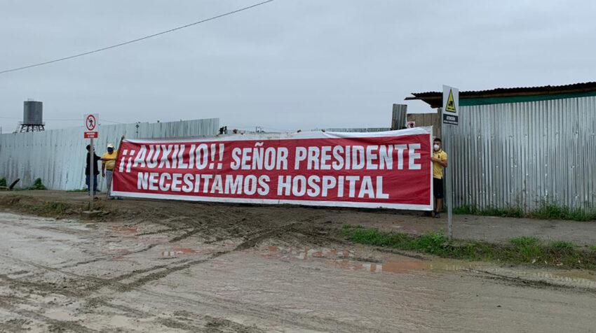 Habitantes de Pedernales, en Manabí, reclaman este 22 de julio por la falta de un hospital.