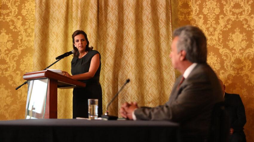 María Paula Romo, ministra de Gobierno, el 3 de diciembre de 2018, cuando se le encargó la Secretaría de la Política.