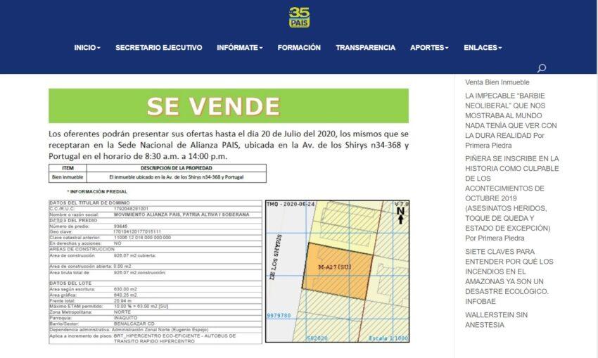 Captura del anuncio de la venta de la sede de Alianza PAIS en Quito, del 14 de julio de 2020.